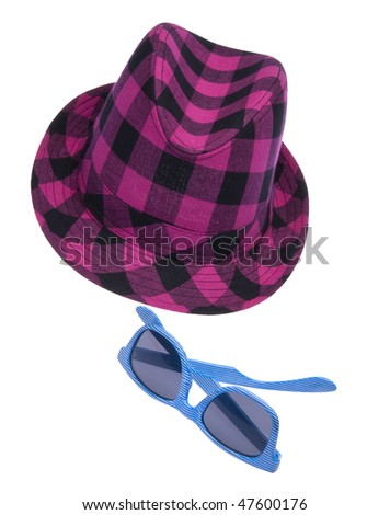 Hipster hat with blue sunglasses isolated on white with a clipping path.