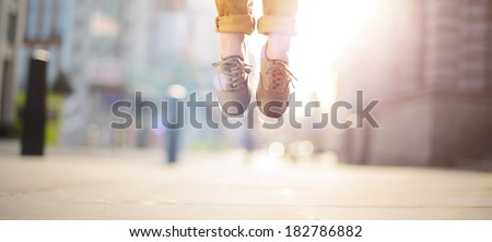 Hipster man feet jumping concept series #182786882