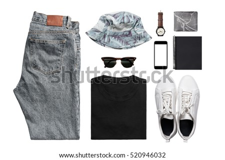 Hipster Man's clothing collections isolate on white(shirt,jean,wallet,watch,sunglasses,phone,shoe,book,hat) with clipping path #520946032