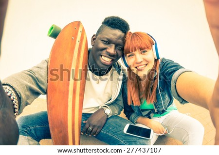 hipster multiracial couple in...