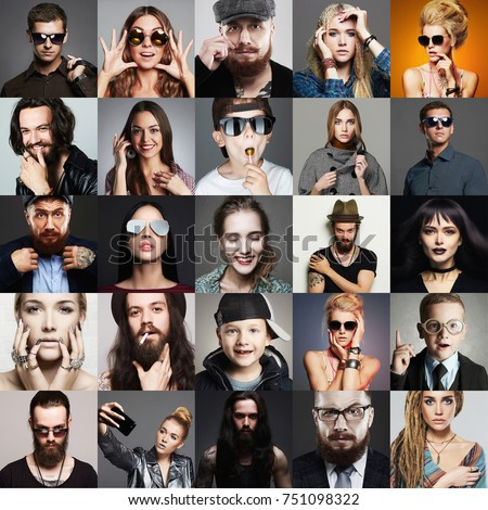 Stock Photo Hipster people concept. Collage (mosaic) of fashionable men, kids, women with stylish accessories, glasses, wearing trendy clothes. beauty fashion collage