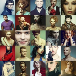 Hipster people concept. Collage (mosaic) of fashionable men, women with stylish accessories, glasses, healthy and unhealthy food, wearing trendy clothes. Close up. Studio shot