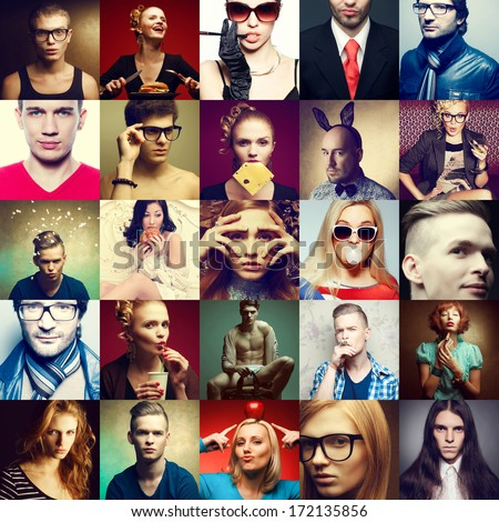 Hipster people concept. Collage (mosaic) of fashionable men, women with stylish accessories, glasses, healthy and unhealthy food & drinks, wearing trendy clothes. Close up. Studio shot