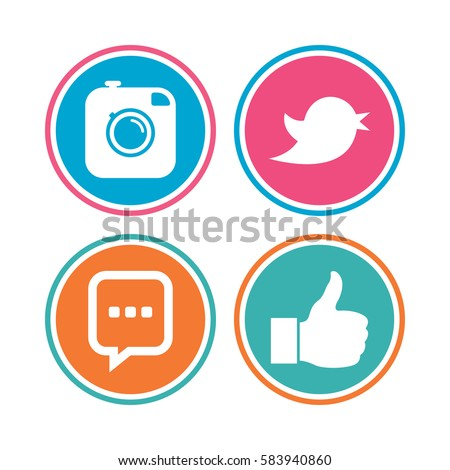 Hipster photo camera icon. Like and Chat speech bubble sign. Hand thumb up. Bird symbol. Colored circle buttons.