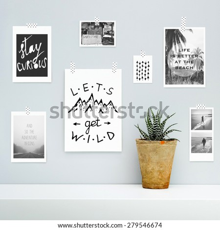 Hipster scandinavian interior design.  Summer, vocation, adventure, journey mood board  with hanging on the gray wall with potted flower.