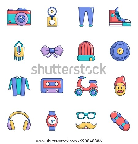 Hipster symbols icons set. Cartoon illustration of 16 hipster symbols  icons for web