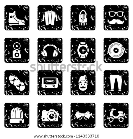 Hipster symbols icons set grunge isolated on white background