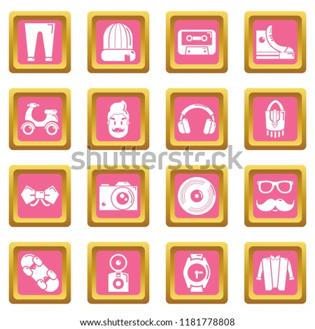 Hipster symbols icons set pink square isolated on white background