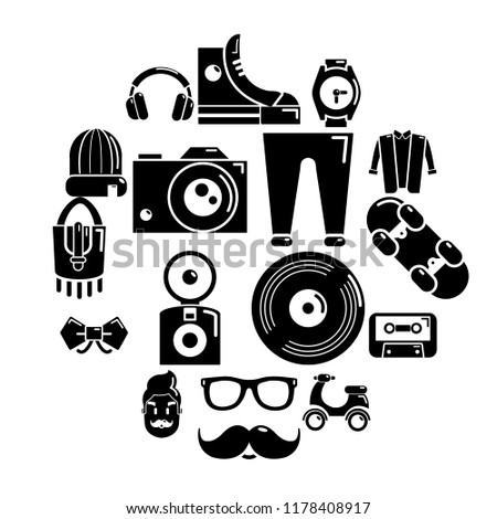 Hipster symbols icons set. Simple illustration of 16 hipster symbols icons for web