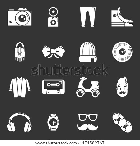 Hipster symbols icons set white isolated on grey background