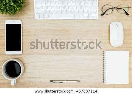 Hipster Wood Desk Table With Computer Keyboard, Mouse, Smartphone, Coffee  Cup And Office