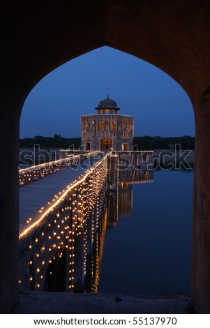 Hiran Minar was built by Mughal Prince in the memory of his beloved deer which died with his own arrow - stock photo