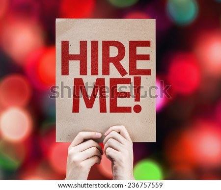 Hire Me card with colorful background with defocused lights