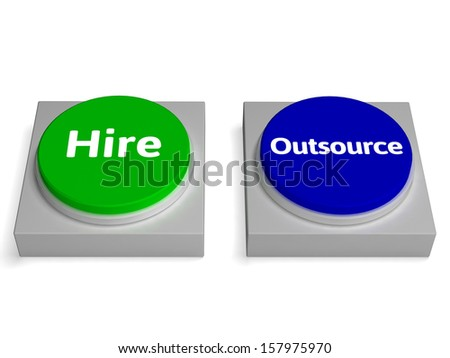 Hire Outsource Button Showing Hiring Or Outsourcing