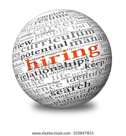 Hiring and job search concept in word tag cloud on 3d sphere