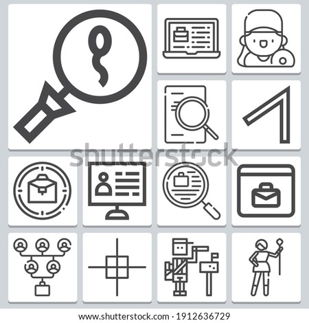 Hiring icons set ? simple set of 13  includes candidate, select all, spermatozoon, job, search, paperboy, job opportunities, majorette, dj, online recruitment symbols Stock photo ©