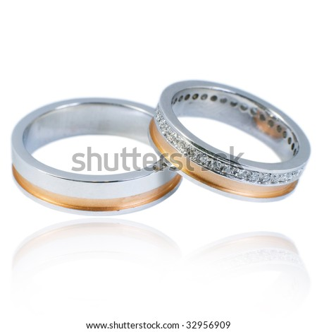 Wedding Bands on Stock Photo   His And Hers Golden Wedding Bands  With Diamonds  On A