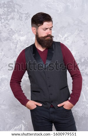 his perfect style. Male fashion and beauty. Confident guy at beauty salon. brutal man mustache. stylish well-trimmed mustaches looking good. Bearded hipster formal outfit. Vintage barber hairdresser.