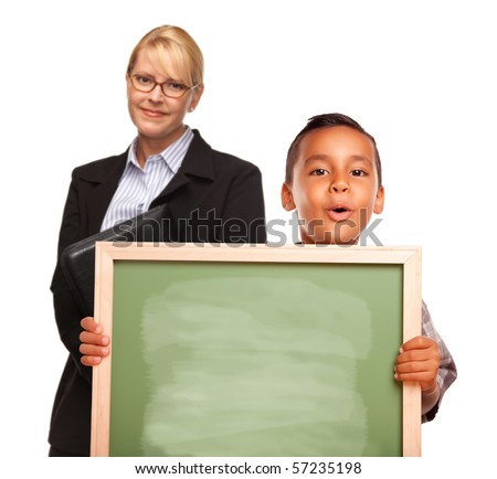 Hispanic Boy Holding Chalk Board and Female Teacher Behind Isolated on a White Background.