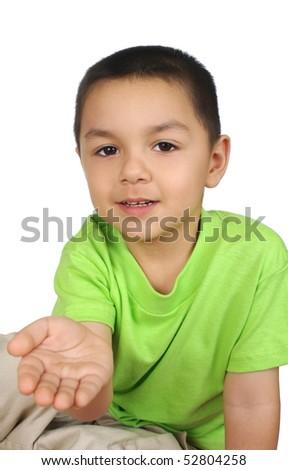 hispanic boy holding hand out, isolated