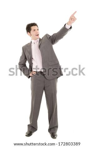 Hispanic business man pointing at something