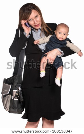 Hispanic businesswoman with baby over white background