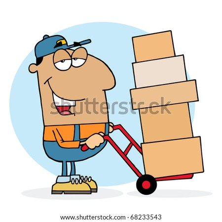 Hispanic Delivery Guy Using A Dolly To Move Boxes