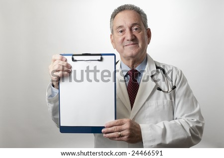 Hispanic doctor physician with clipboard