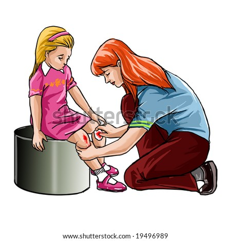 First Aid Bandaging Techniques http://www.shutterstock.com/pic-19496989/stock-photo-hispanic-girl-sitting-on-playground-slide-while-woman-applies-first-aid-bandage-to-knee.html