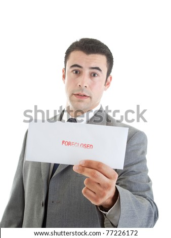 "Hispanic man holding a letter stamped ""foreclosed"" focus on envelope"