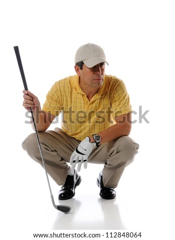 Hispanic mature golfer holding patter isolated over white background