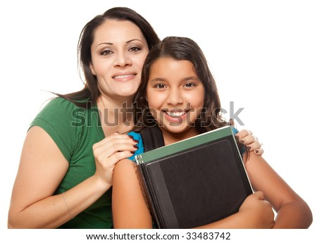 Hispanic Mother and Teen Aged Daughter Ready for School Isolated on a White Background.