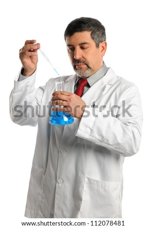 Hispanic scientist mixing chemicals isolated over white background