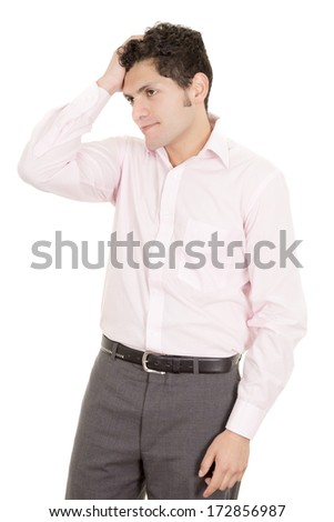 hispanic stressed businessman in suit