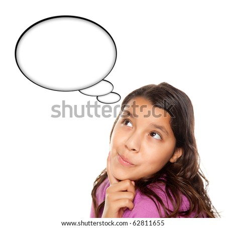 Hispanic Teen Aged Girl with Blank Thought Bubble Isolated on a White Background - Contains Clipping Paths.