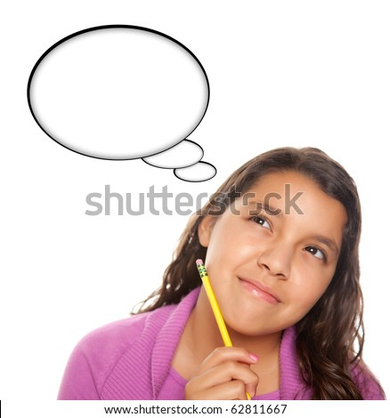 Hispanic Teen Aged with Pencil and Blank Thought Bubble Isolated on a White Background - Contains Clipping Paths.