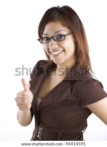 Hispanic Woman Giving Thumbs Up