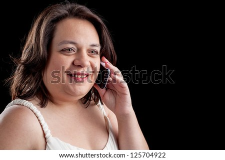 hispanic woman using a cell phone
