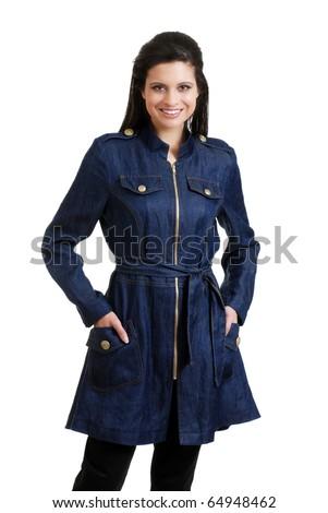 Hispanic woman wearing a jean jacket