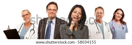Hispanic Woman with Businessman and Male Doctors or Nurses Isolated on a White Background.