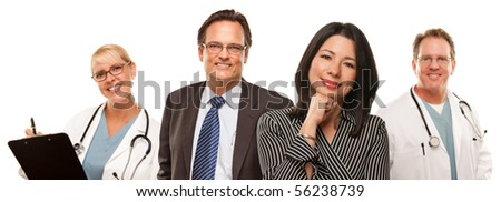 Hispanic Woman with Husband and Male Doctors or Nurses Isolated on a White Background.