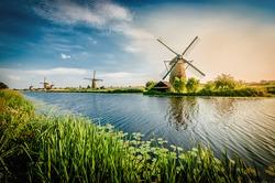 Historians Dutch windmills near Rotterdam.