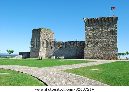 historic and beautiful Ourem castle near Fatima, Portugal - stock photo