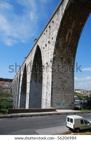 historic aqueduct in the city of Lisbon built in 18th century, Portugal