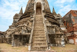 Historic architecture - closeup view of old stone staircase in ruins of historical building of asian temple