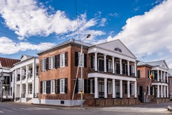 Historic architecture of the Waterkant street in the  historic city of Paramaribo, Suriname. The historic inner city of Paramaribo is a UNESCO World Heritage Site since 2002.