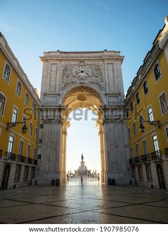 Historic architecture triumphal arch Arco da Rua Augusta archway at Praca do Comercio Commerce square Lisbon Portugal Foto stock ©