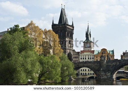 Historic attractions behind the Charles Bridge.