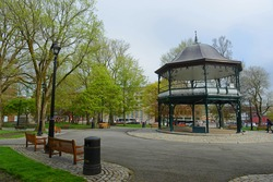 Historic bandstand built in 1908 on King's Square in downtown Saint John, New Brunswick NB, Canada.