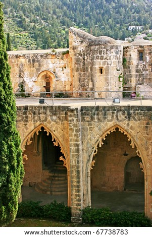 Historic Bellapais Abbey in Kyrenia, Northern Cyprus.Original construction was built between 1198-1205, it is the most beautiful Gothic building in the Near East.